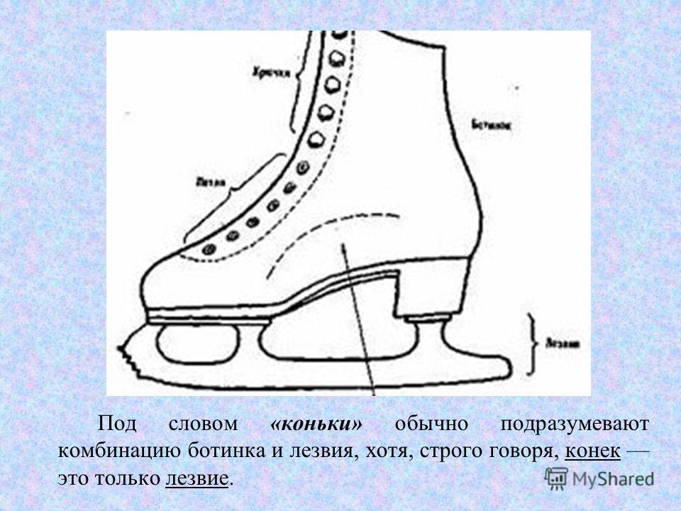 Под словом «коньки» обычно подразумевают комбинацию ботинка и лезвия, хотя, строго говоря, конек это только лезвие.