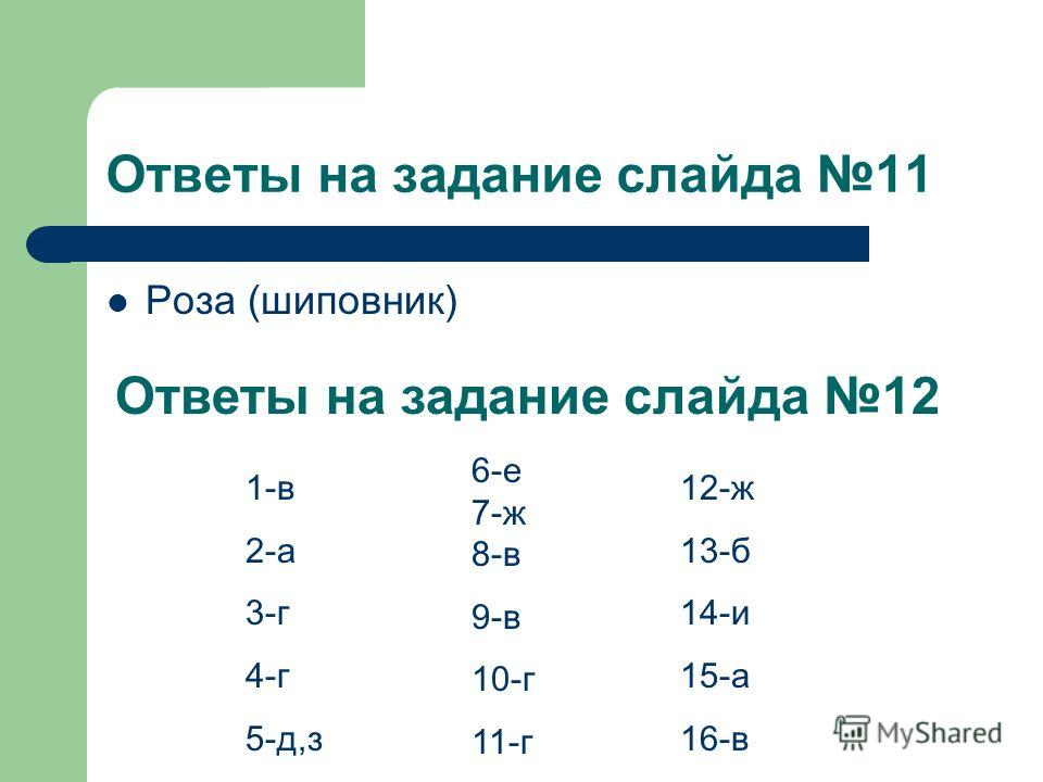 Ответы на задание слайда 11 Роза (шиповник) Ответы на задание слайда 12 1-в 2-а 3-г 4-г 5-д,з 6-е 7-ж 8-в 9-в 10-г 11-г 12-ж 13-б 14-и 15-а 16-в