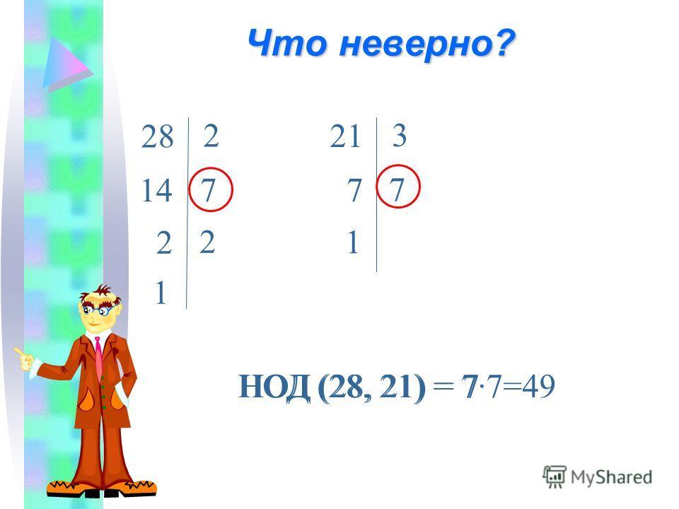 Что неверно? 14 28 2 7 2 7 21 3 7 1 НОД (28, 21) = 7·7=49НОД (28, 21) = 7 2 1