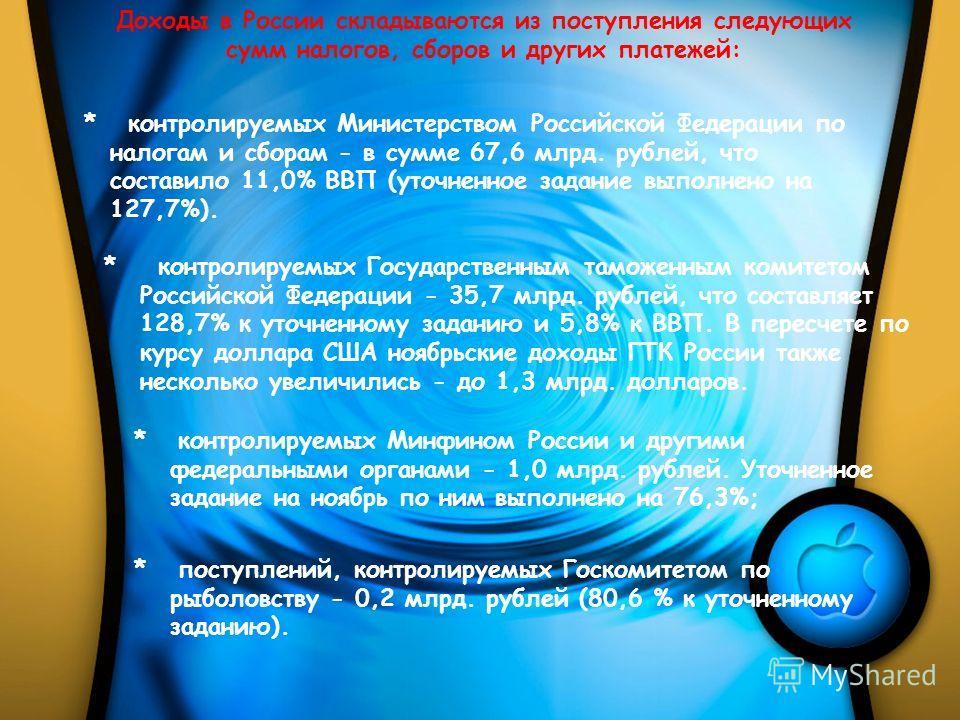 Доходы в России складываются из поступления следующих сумм налогов, сборов и других платежей: * контролируемых Министерством Российской Федерации по налогам и сборам - в сумме 67,6 млрд. рублей, что составило 11,0% ВВП (уточненное задание выполнено н