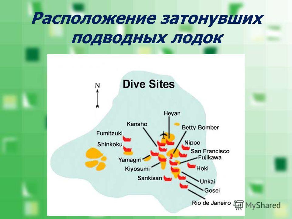 Расположение затонувших подводных лодок