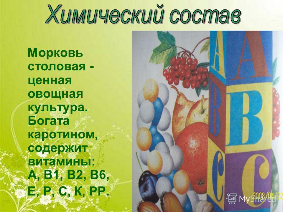 Морковь столовая - ценная овощная культура. Богата каротином, содержит витамины: А, В1, В2, В6, Е, Р, С, К, РР.