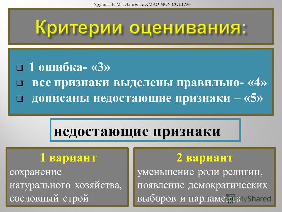 1 ошибка - «3» все признаки выделены правильно - «4» дописаны недостающие признаки – «5» 1 вариант сохранение натурального хозяйства, сословный строй 2 вариант уменьшение роли религии, появление демократических выборов и парламента недостающие призна