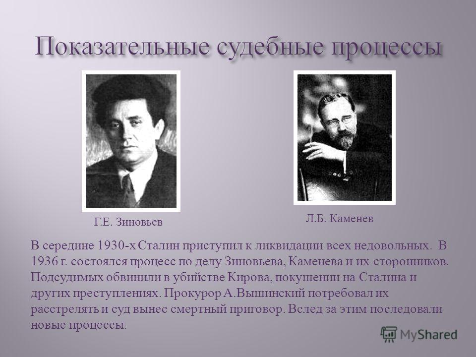 В середине 1930- х Сталин приступил к ликвидации всех недовольных. В 1936 г. состоялся процесс по делу Зиновьева, Каменева и их сторонников. Подсудимых обвинили в убийстве Кирова, покушении на Сталина и других преступлениях. Прокурор А. Вышинский пот