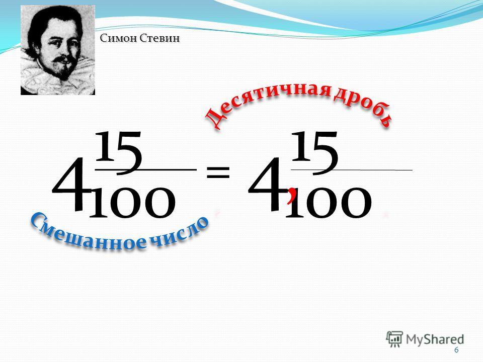 6 100 15 4, 100 15 4 = Симон Стевин