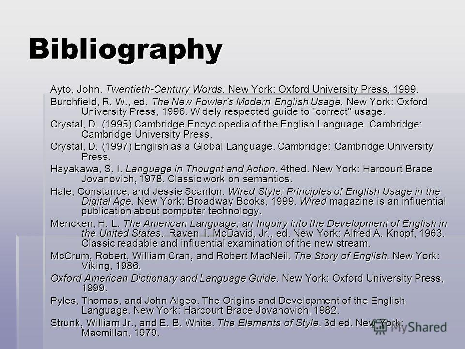 Bibliography Ayto, John. Twentieth-Century Words. New York: Oxford University Press, 1999. Burchfield, R. W., ed. The New Fowler's Modern English Usage. New York: Oxford University Press, 1996. Widely respected guide to