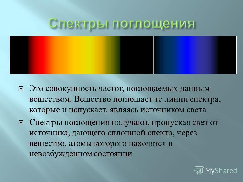 Это совокупность частот, поглощаемых данным веществом. Вещество поглощает те линии спектра, которые и испускает, являясь источником света Спектры поглощения получают, пропуская свет от источника, дающего сплошной спектр, через вещество, атомы которог