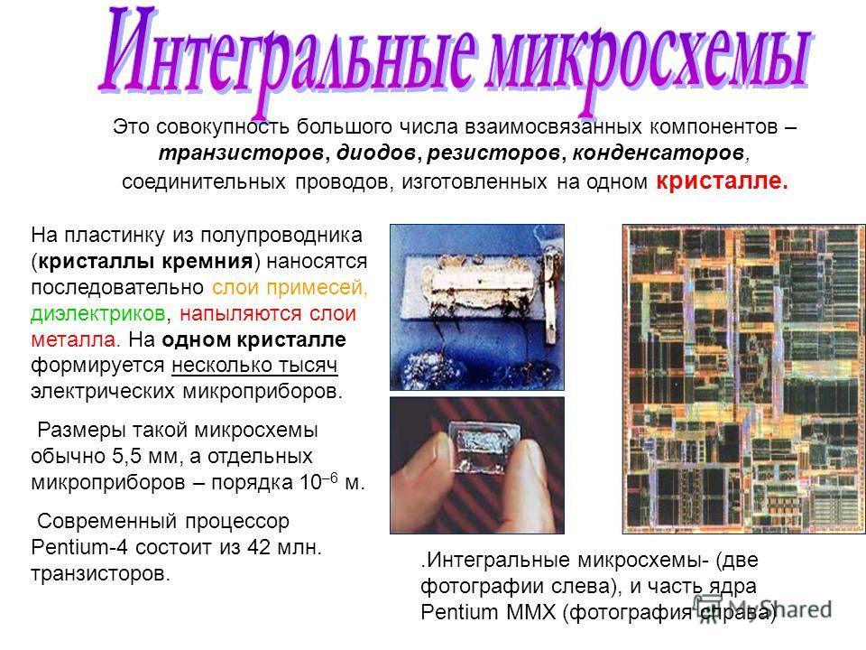 .Интегральные микросхемы- (две фотографии слева), и часть ядра Pentium ММХ (фотография справа) Это совокупность большого числа взаимосвязанных компонентов – транзисторов, диодов, резисторов, конденсаторов, соединительных проводов, изготовленных на од