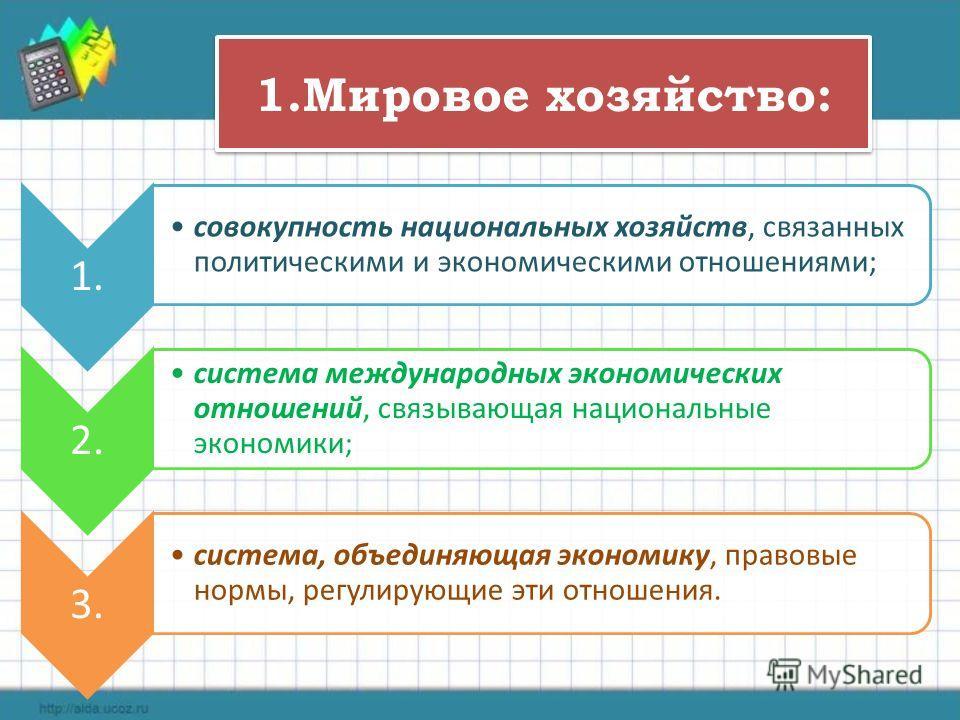 1.Мировое хозяйство: 1. совокупность национальных хозяйств, связанных политическими и экономическими отношениями; 2. система международных экономических отношений, связывающая национальные экономики ; 3. система, объединяющая экономику, правовые норм