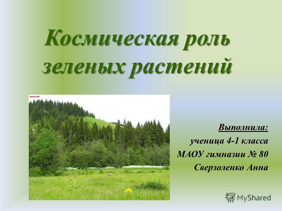 Космическая роль зеленых растений Выполнила: ученица 4-1 класса МАОУ гимназии 80 Сверзоленко Анна