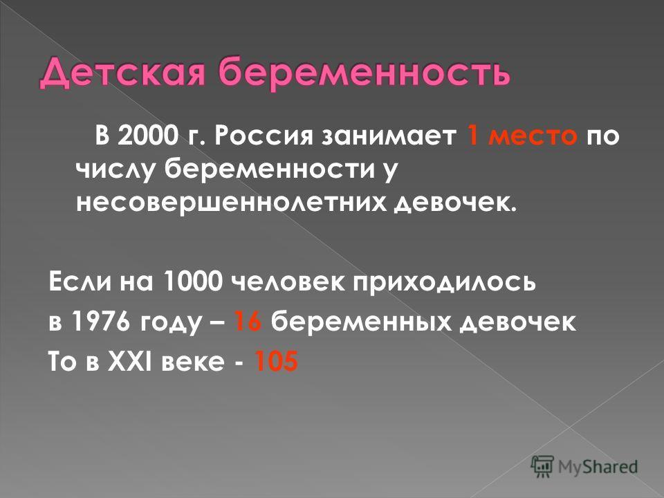 В 2000 г. Россия занимает 1 место по числу беременности у несовершеннолетних девочек. Если на 1000 человек приходилось в 1976 году – 16 беременных девочек То в XXI веке - 105