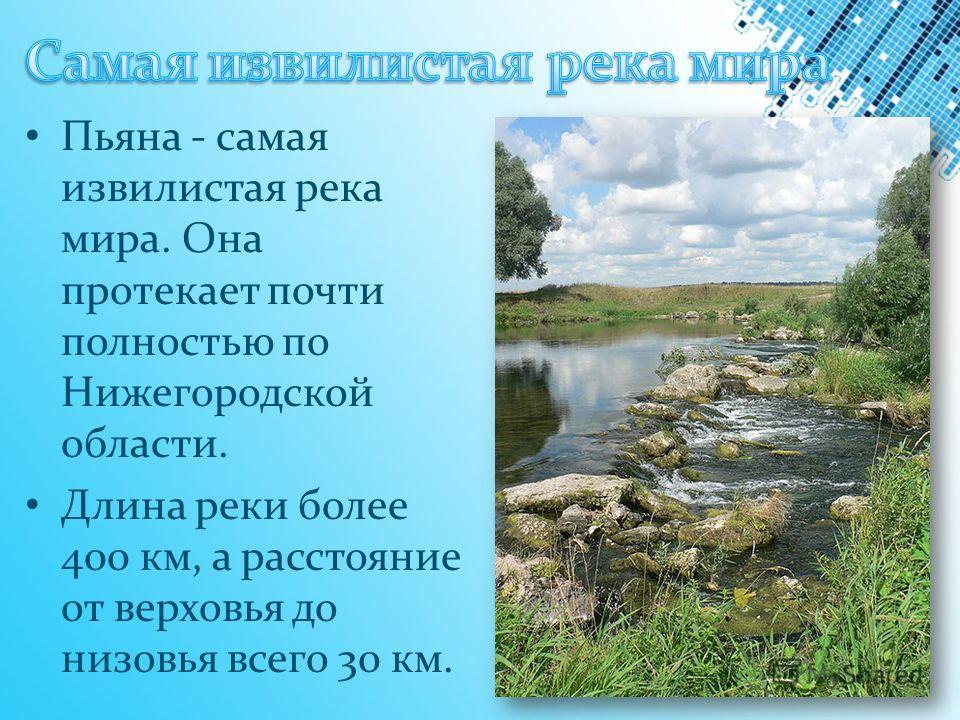 Пьяна - самая извилистая река мира. Она протекает почти полностью по Нижегородской области. Длина реки более 400 км, а расстояние от верховья до низовья всего 30 км.