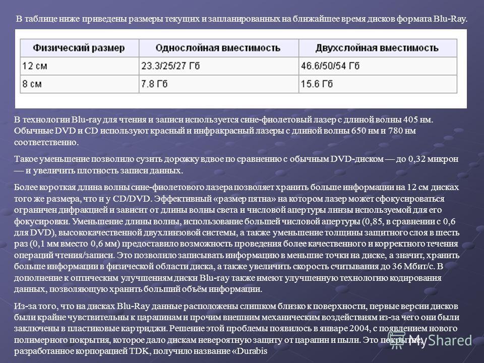 В таблице ниже приведены размеры текущих и запланированных на ближайшее время дисков формата Blu-Ray. В технологии Blu-ray для чтения и записи используется сине-фиолетовый лазер с длиной волны 405 нм. Обычные DVD и CD используют красный и инфракрасны
