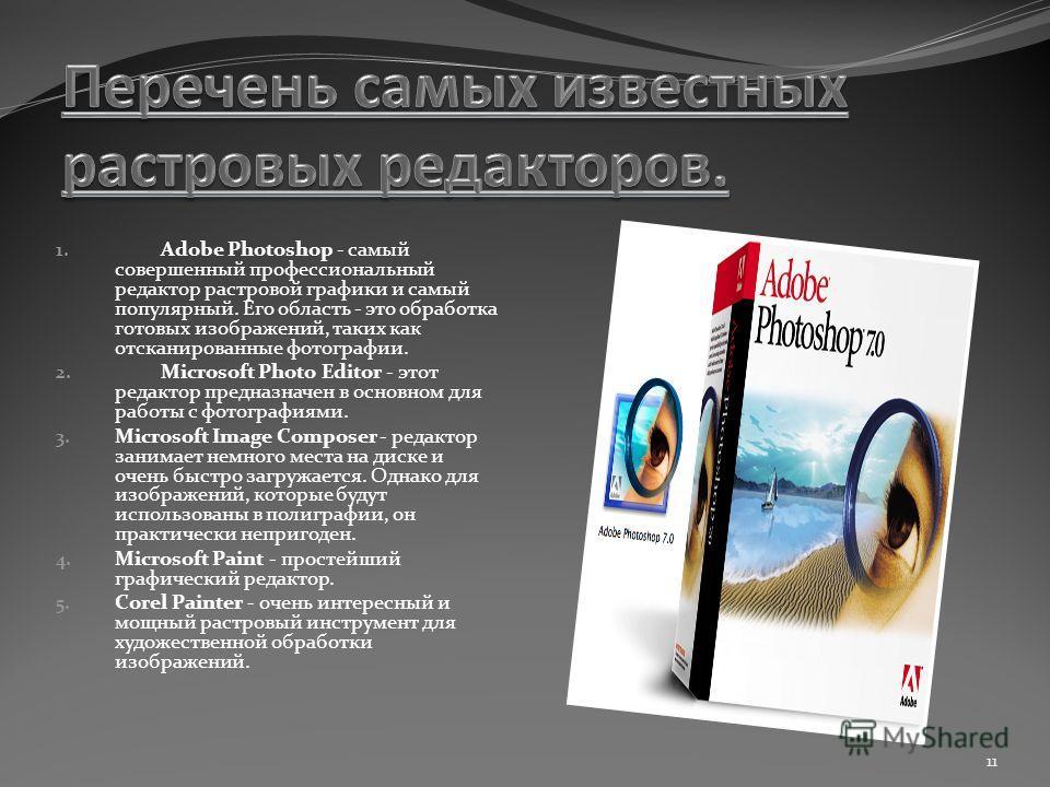 1. Adobe Photoshoр - самый совершенный профессиональный редактор растровой графики и самый популярный. Его область - это обработка готовых изображений, таких как отсканированные фотографии. 2. Microsoft Photo Editor - этот редактор предназначен в осн