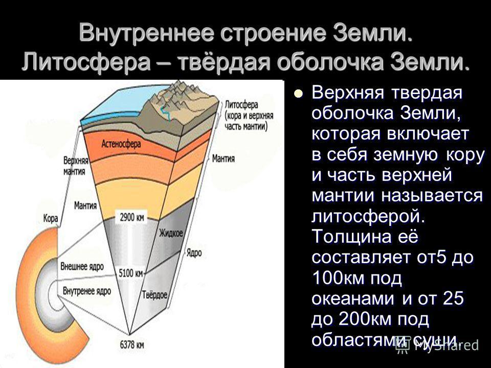 Внутреннее строение Земли. Литосфера – твёрдая оболочка Земли. Верхняя твердая оболочка Земли, которая включает в себя земную кору и часть верхней мантии называется литосферой. Толщина её составляет от5 до 100км под океанами и от 25 до 200км под обла