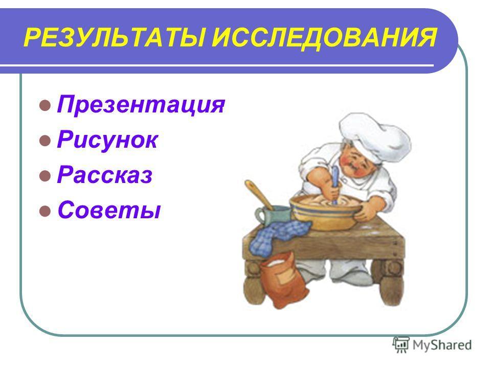 РЕЗУЛЬТАТЫ ИССЛЕДОВАНИЯ Презентация Рисунок Рассказ Советы