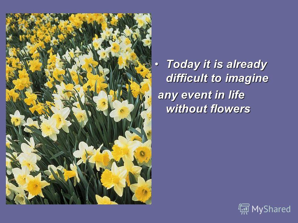 Today it is already difficult to imagine any event in life without flowers