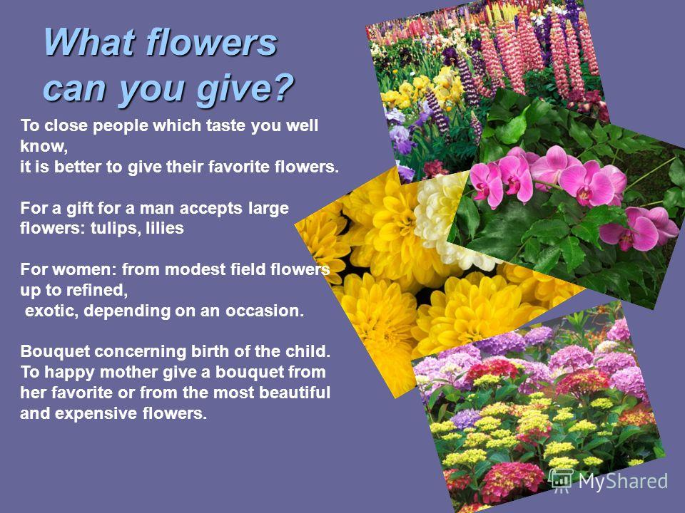 What flowers can you give? To close people which taste you well know, it is better to give their favorite flowers. For a gift for a man accepts large flowers: tulips, lilies For women: from modest field flowers up to refined, exotic, depending on an