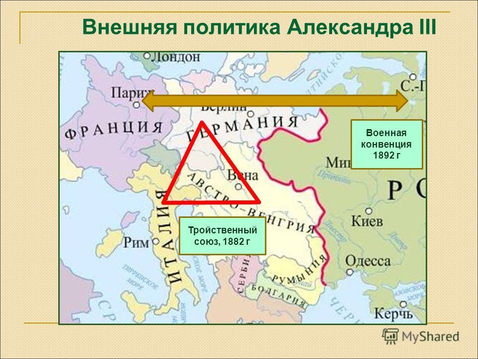 Внешняя политика Александра III 3 Тройственный союз, 1882 г Военная конвенция 1892 г