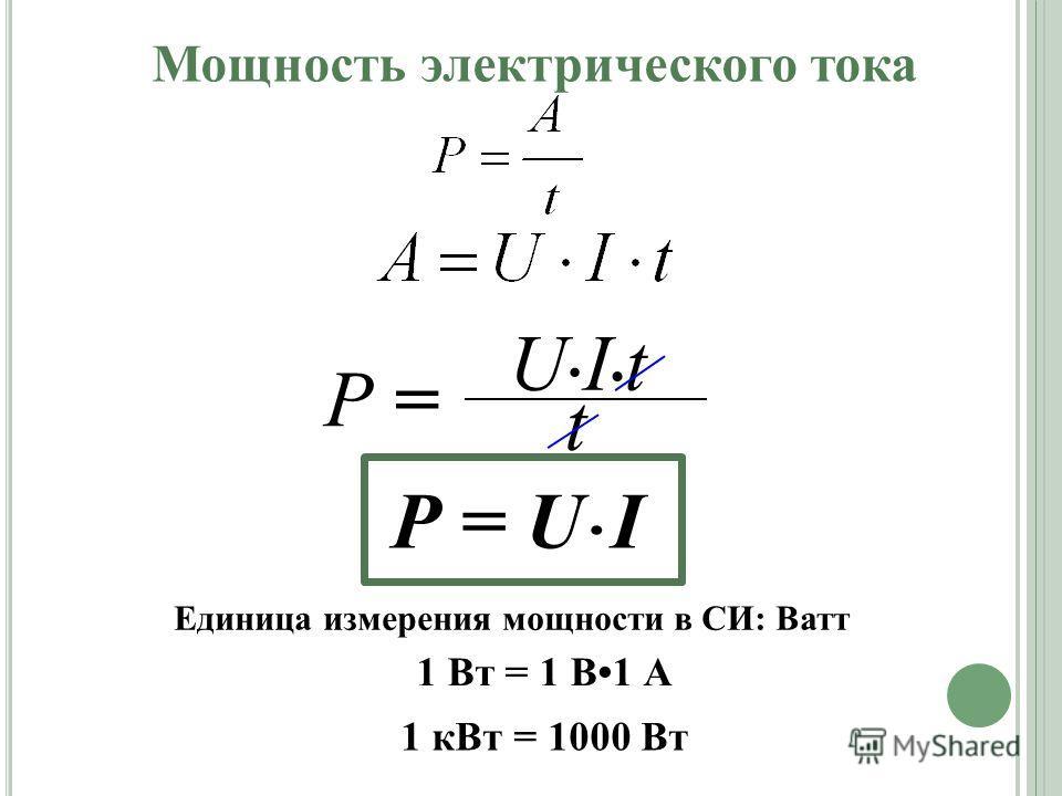 Мощность электрического тока Р = U I U I t Р = t Единица измерения мощности в СИ: Ватт 1 Вт = 1 В1 А 1 кВт = 1000 Вт
