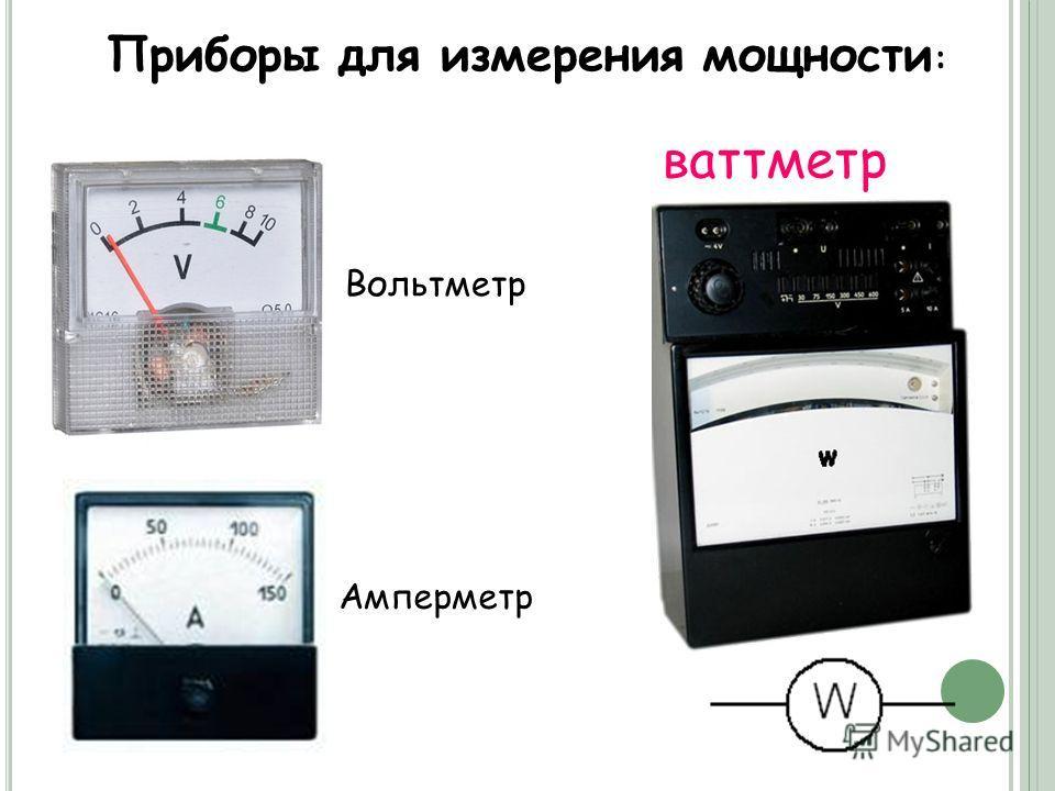 Приборы для измерения мощности : ваттметр Вольтметр Амперметр