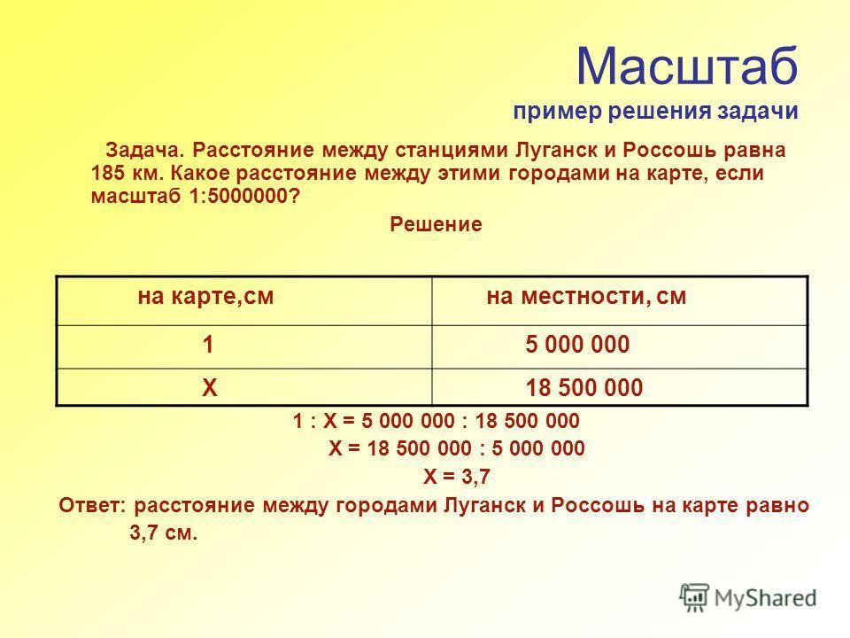 Масштаб пример решения задачи Задача. Расстояние между станциями Луганск и Россошь равна 185 км. Какое расстояние между этими городами на карте, если масштаб 1:5000000? Решение 1 : Х = 5 000 000 : 18 500 000 Х = 18 500 000 : 5 000 000 Х = 3,7 Ответ: