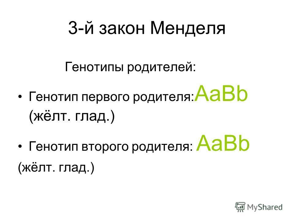 3-й закон Менделя Генотипы родителей: Генотип первого родителя: AaBb (жёлт. глад.) Генотип второго родителя: AaBb (жёлт. глад.)