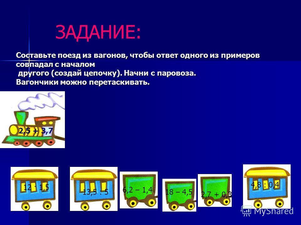 ЗАДАНИЕ: Составьте поезд из вагонов, чтобы ответ одного из примеров совпадал с началом другого (создай цепочку). Начни с паровоза. Вагончики можно перетаскивать. 2,5 + 3,7 12 · 1,5 18 – 4,5 13,5 : 5 6,2 – 1,4 2,7 + 0,3 4,8 : 0,4