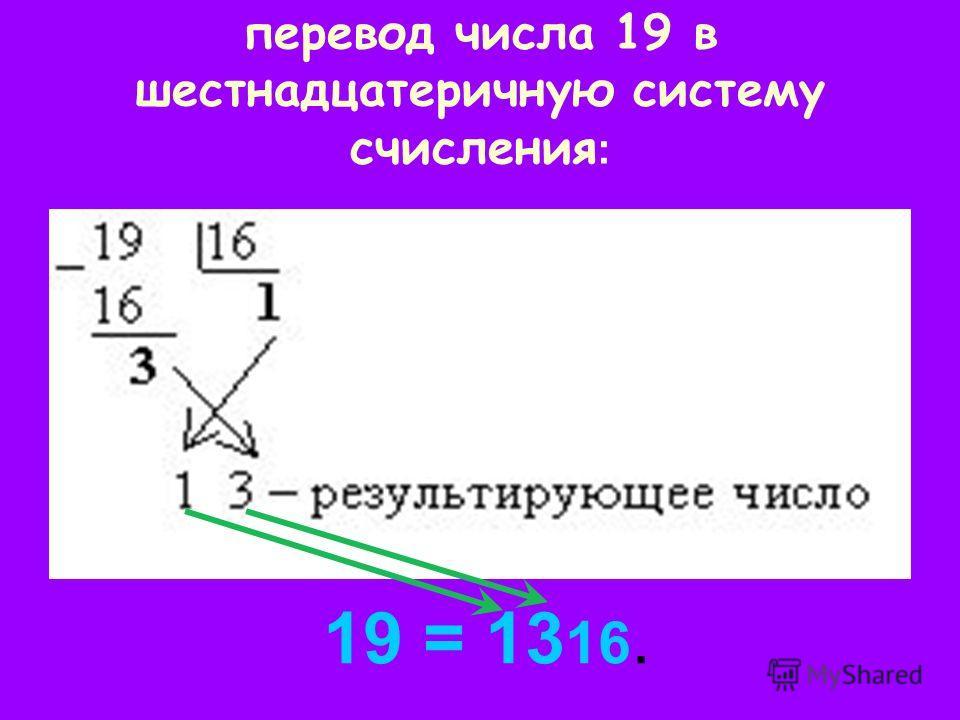 перевод числа 19 в шестнадцатеричную систему счисления : 19 = 13 16.