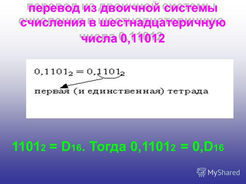 перевод из двоичной системы счисления в шестнадцатеричную числа 0,11012 1101 2 = D 16. Тогда 0,1101 2 = 0,D 16