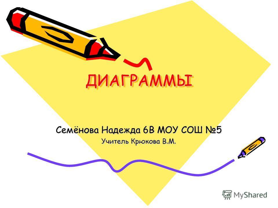 ДИАГРАММЫ ДИАГРАММЫ Семёнова Надежда 6В МОУ СОШ 5 Учитель Крюкова В.М.