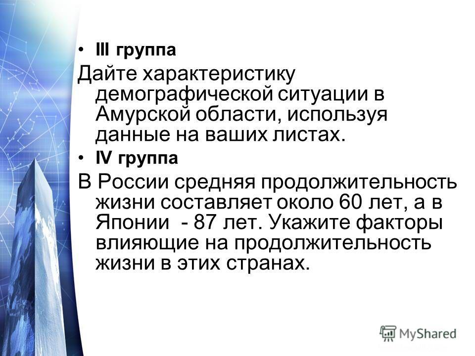 III группа Дайте характеристику демографической ситуации в Амурской области, используя данные на ваших листах. IV группа В России средняя продолжительность жизни составляет около 60 лет, а в Японии - 87 лет. Укажите факторы влияющие на продолжительно