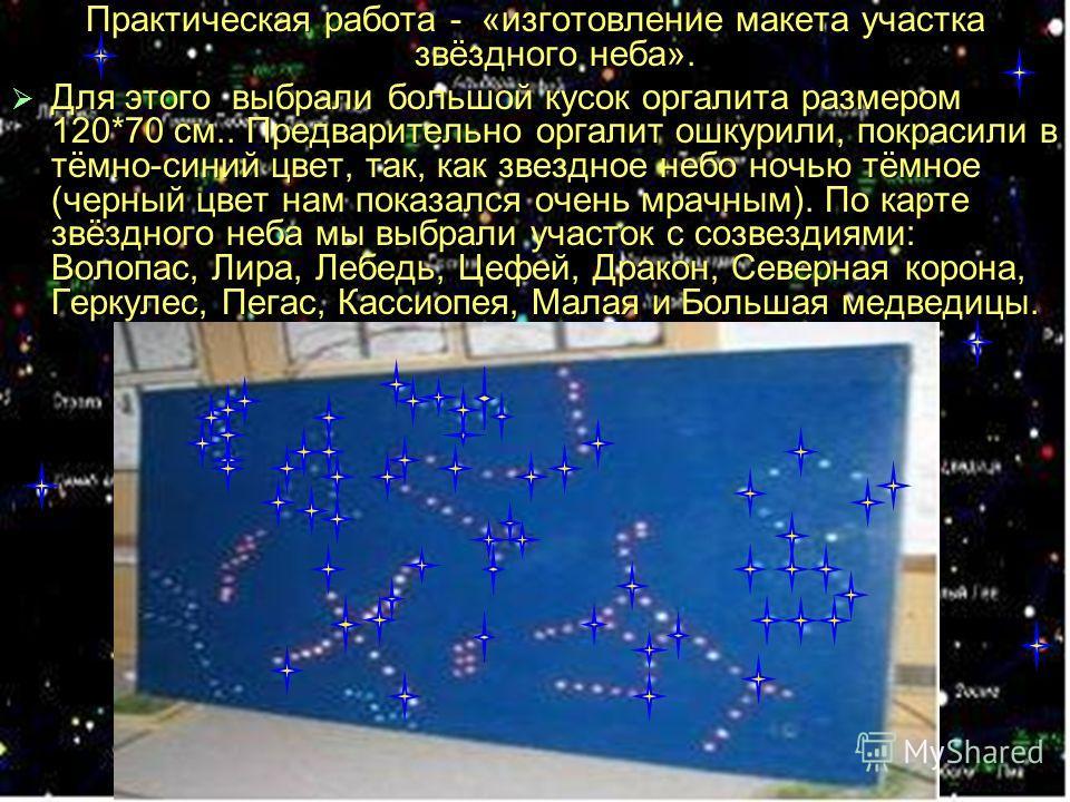 Практическая работа - «изготовление макета участка звёздного неба». Для этого выбрали большой кусок оргалита размером 120*70 см.. Предварительно оргалит ошкурили, покрасили в тёмно-синий цвет, так, как звездное небо ночью тёмное (черный цвет нам пока