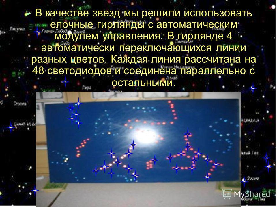В качестве звезд мы решили использовать елочные гирлянды с автоматическим модулем управления. В гирлянде 4 автоматически переключающихся линии разных цветов. Каждая линия рассчитана на 48 светодиодов и соединена параллельно с остальными. В качестве з