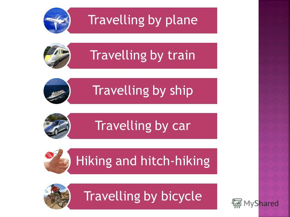 Travelling by plane Travelling by train Travelling by ship Travelling by car Hiking and hitch-hiking Travelling by bicycle