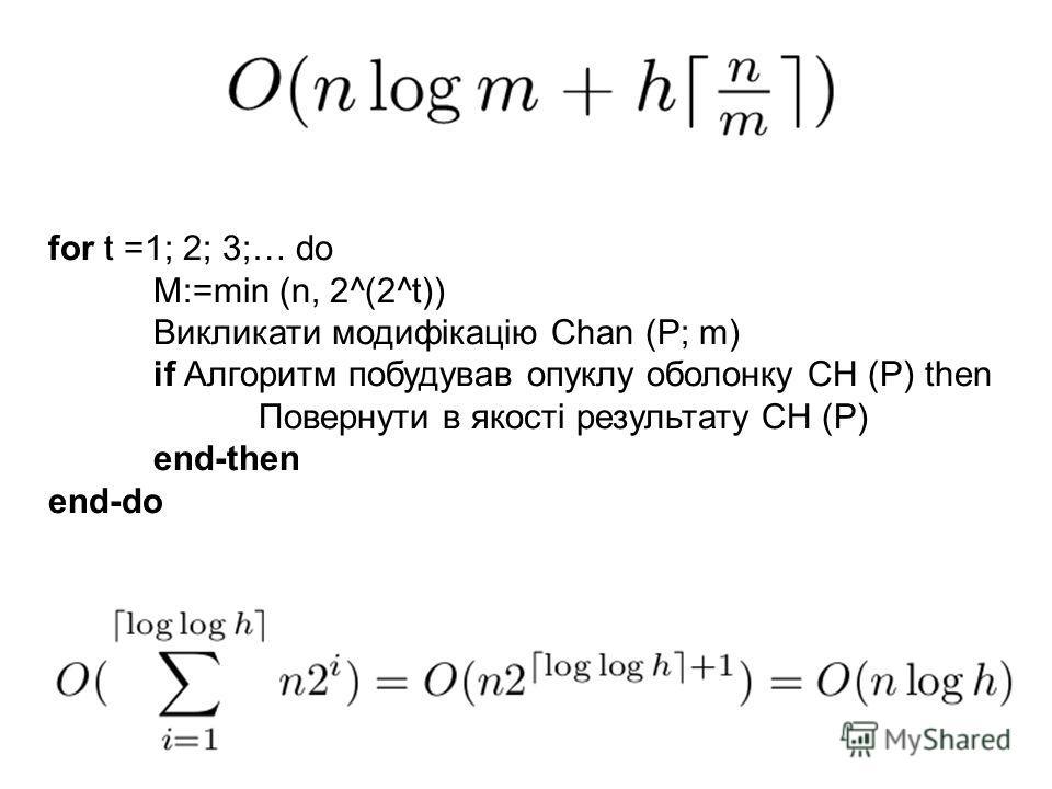 for t =1; 2; 3;… do M:=min (n, 2^(2^t)) Викликати модифікацію Chan (P; m) if Алгоритм побудував опуклу оболонку CH (P) then Повернути в якості результату CH (P) end-then end-do