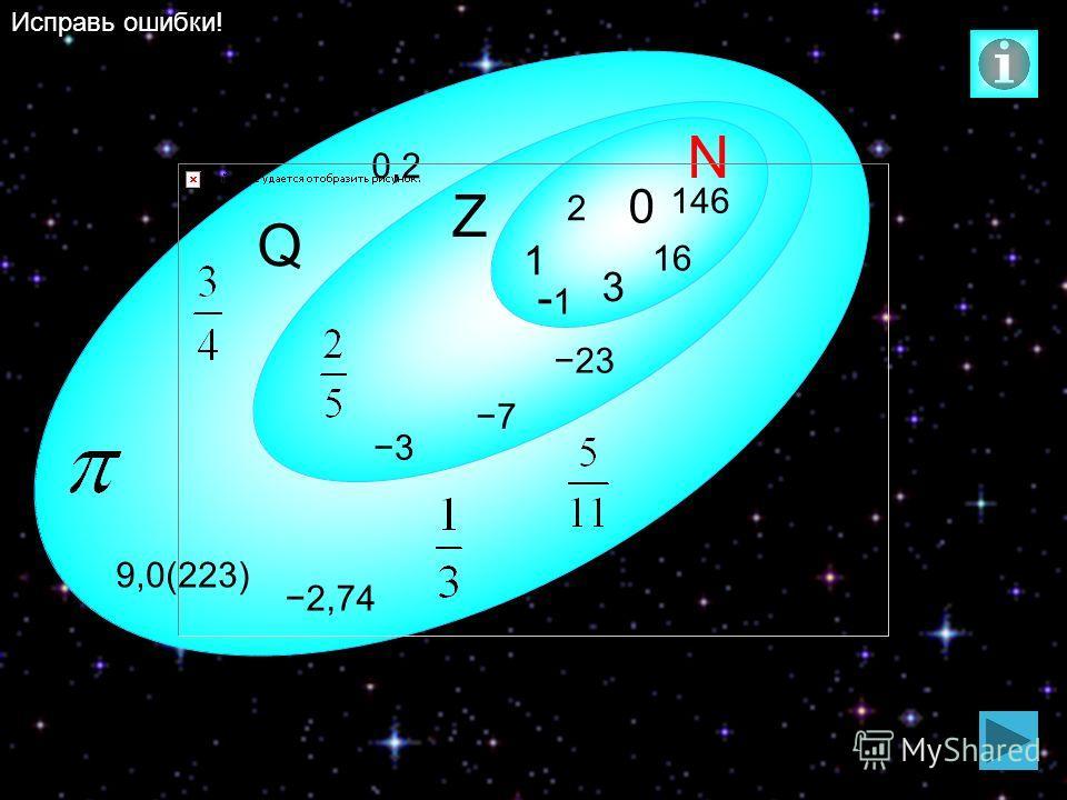 2 N Q Z 0 1 23 3 146 16 7 0,2 2,74 9,0(223) 3 -1 Исправь ошибки!