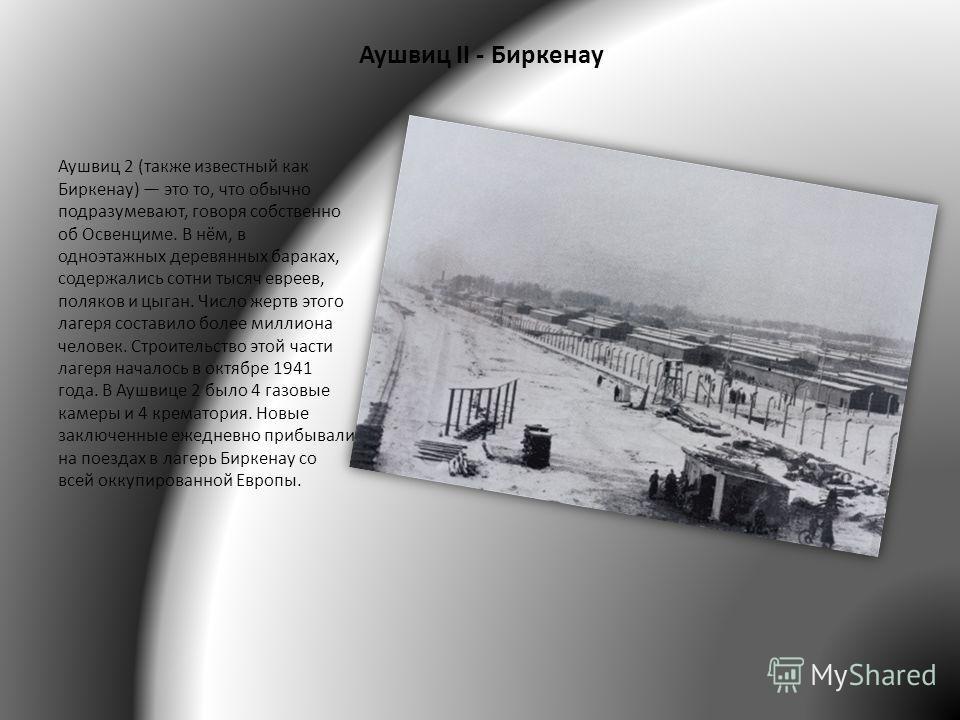 Аушвиц II - Биркенау Аушвиц 2 (также известный как Биркенау) это то, что обычно подразумевают, говоря собственно об Освенциме. В нём, в одноэтажных деревянных бараках, содержались сотни тысяч евреев, поляков и цыган. Число жертв этого лагеря составил