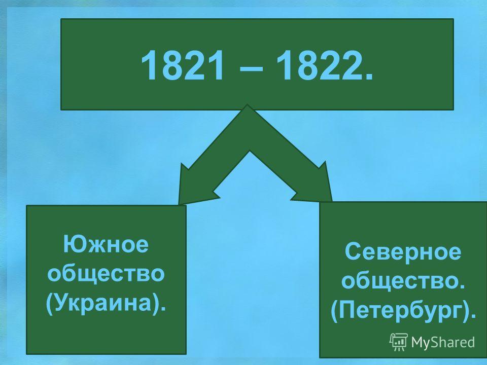 1821 – 1822. Южное общество (Украина). Северное общество. (Петербург).