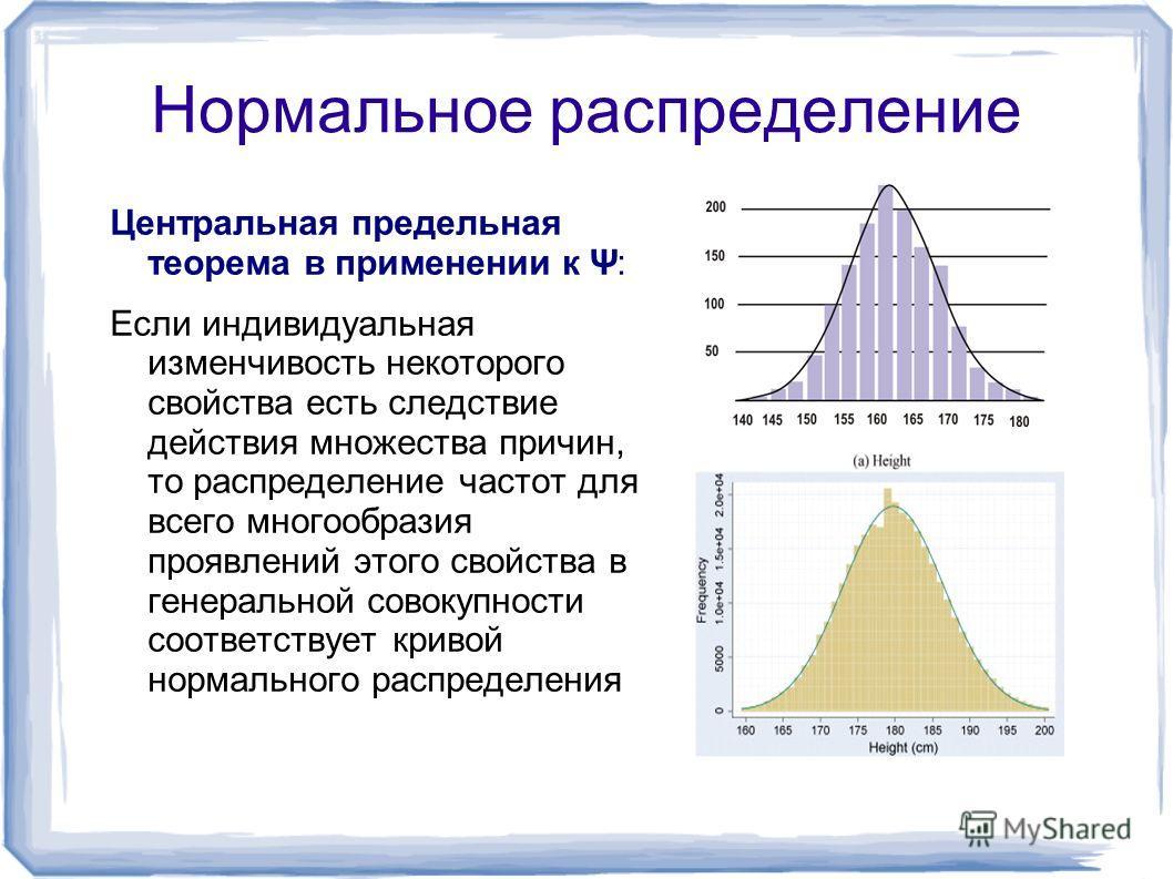 Нормальное распределение Центральная предельная теорема в применении к Ψ: Если индивидуальная изменчивость некоторого свойства есть следствие действия множества причин, то распределение частот для всего многообразия проявлений этого свойства в генера