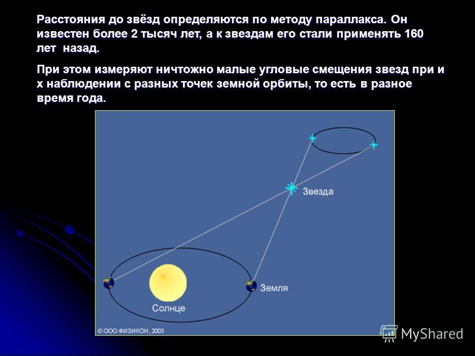Расстояния до звёзд определяются по методу параллакса. Он известен более 2 тысяч лет, а к звездам его стали применять 160 лет назад. При этом измеряют ничтожно малые угловые смещения звезд при и х наблюдении с разных точек земной орбиты, то есть в ра