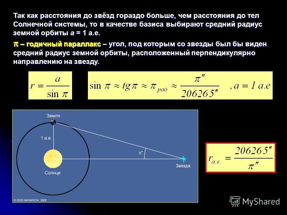 Так как расстояния до звёзд гораздо больше, чем расстояния до тел Солнечной системы, то в качестве базиса выбирают средний радиус земной орбиты a = 1 а.е. – годичный параллакс – угол, под которым со звезды был бы виден средний радиус земной орбиты, р