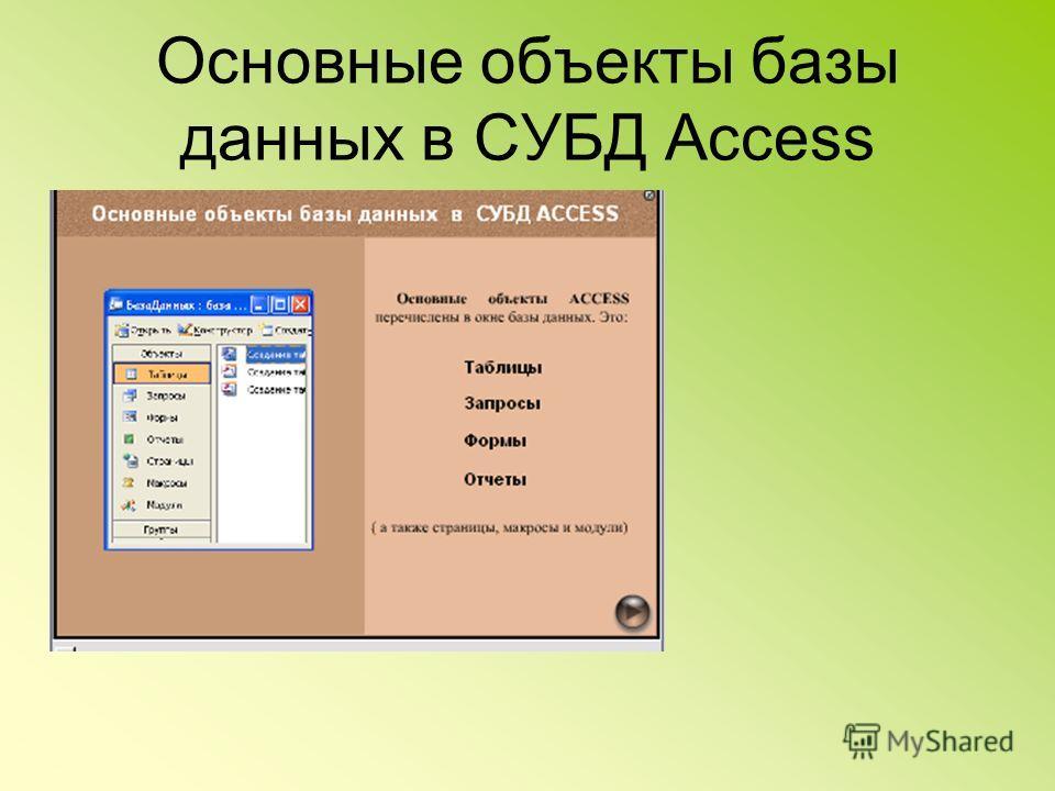 Основные объекты базы данных в СУБД Access