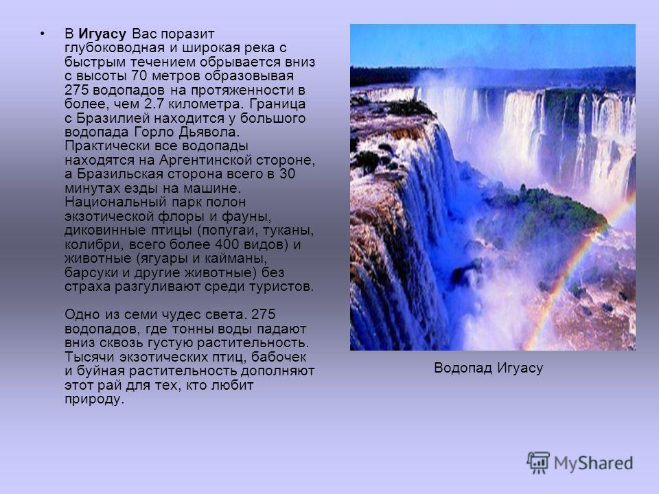 В Игуасу Вас поразит глубоководная и широкая река с быстрым течением обрывается вниз с высоты 70 метров образовывая 275 водопадов на протяженности в более, чем 2.7 километра. Граница с Бразилией находится у большого водопада Горло Дьявола. Практическ