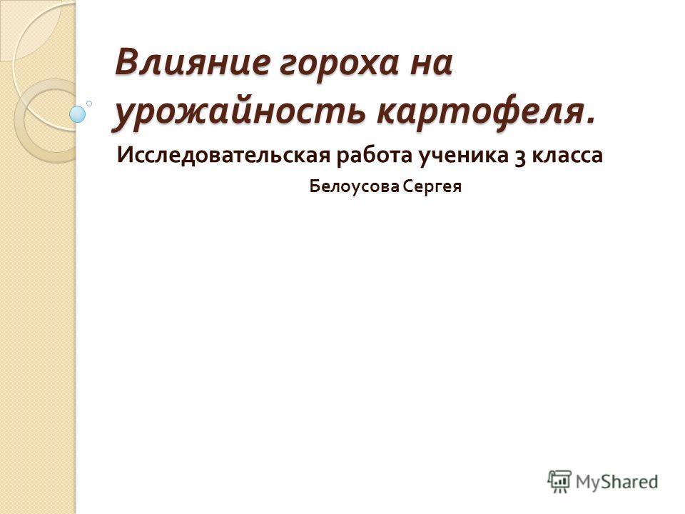 Влияние гороха на урожайность картофеля. Исследовательская работа ученика 3 класса Белоусова Сергея