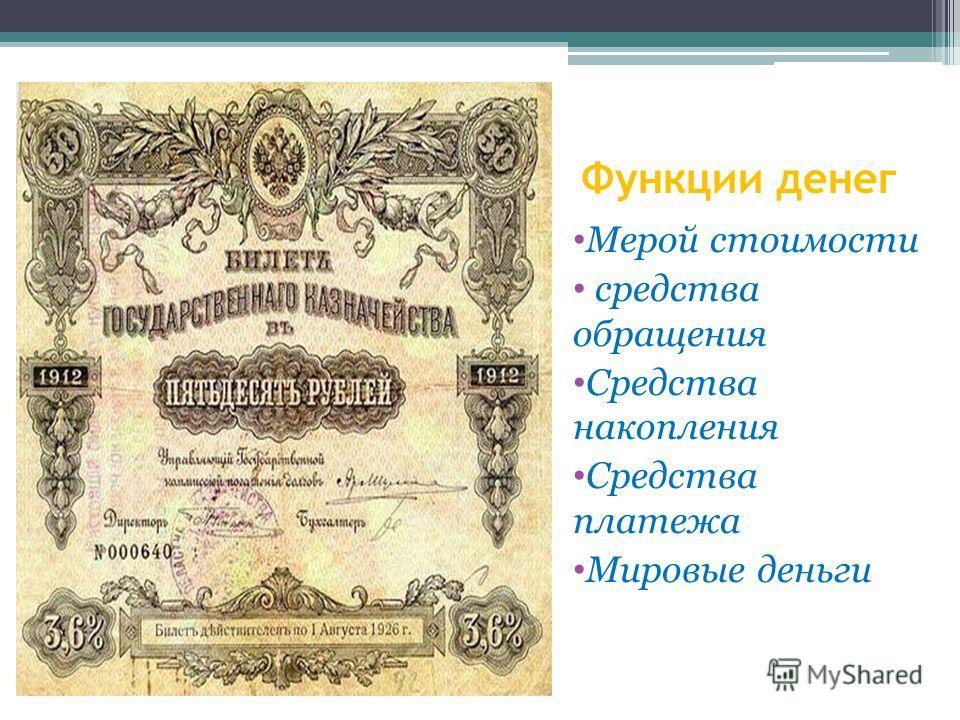 Функции денег Мерой стоимости средства обращения Средства накопления Средства платежа Мировые деньги