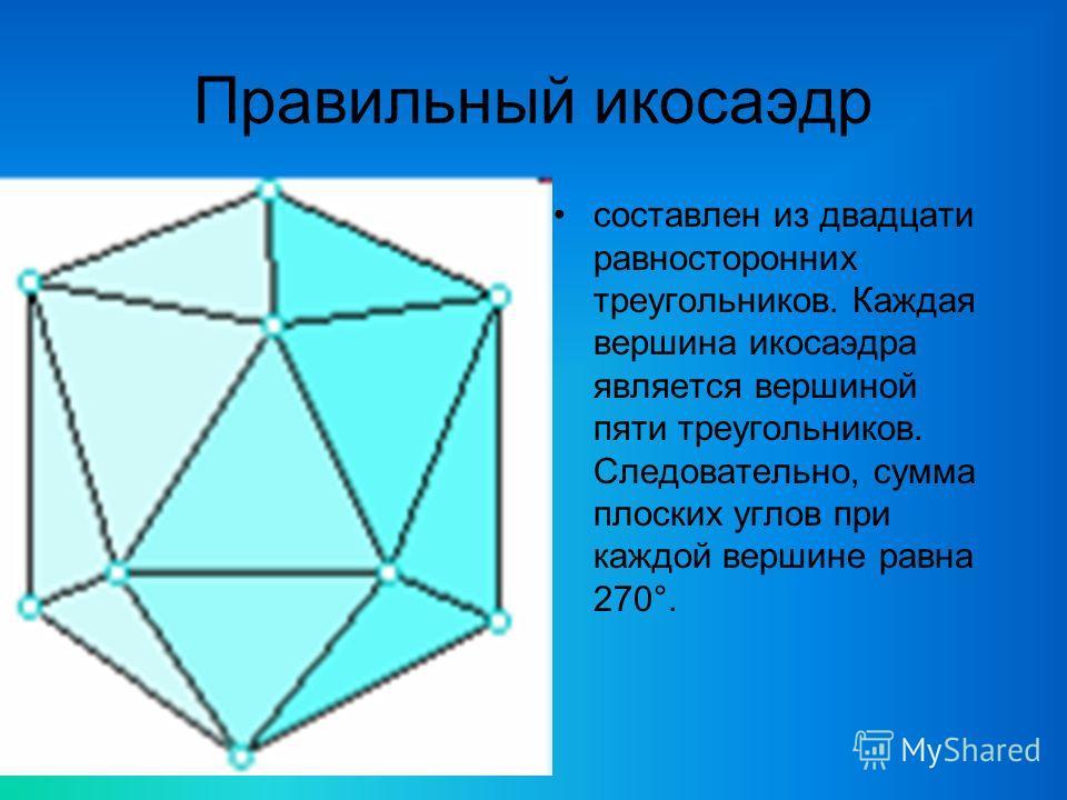 Правильный икосаэдр составлен из двадцати равносторонних треугольников. Каждая вершина икосаэдра является вершиной пяти треугольников. Следовательно, сумма плоских углов при каждой вершине равна 270°.