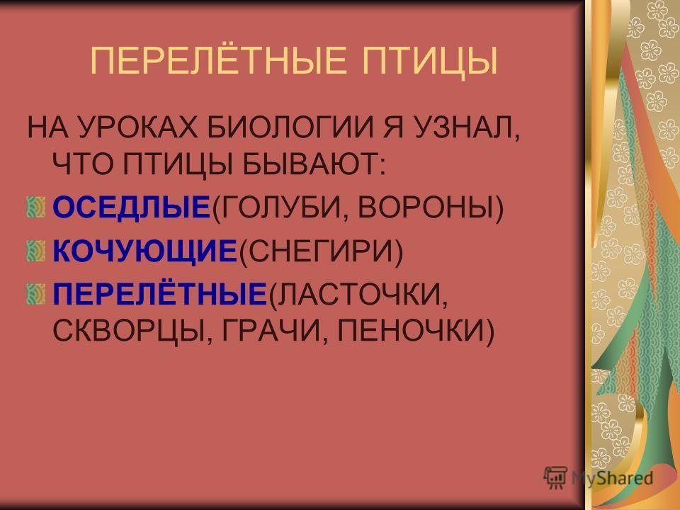 ПЕРЕЛЁТНЫЕ ПТИЦЫ НА УРОКАХ БИОЛОГИИ Я УЗНАЛ, ЧТО ПТИЦЫ БЫВАЮТ: ОСЕДЛЫЕ(ГОЛУБИ, ВОРОНЫ) КОЧУЮЩИЕ(СНЕГИРИ) ПЕРЕЛЁТНЫЕ(ЛАСТОЧКИ, СКВОРЦЫ, ГРАЧИ, ПЕНОЧКИ)