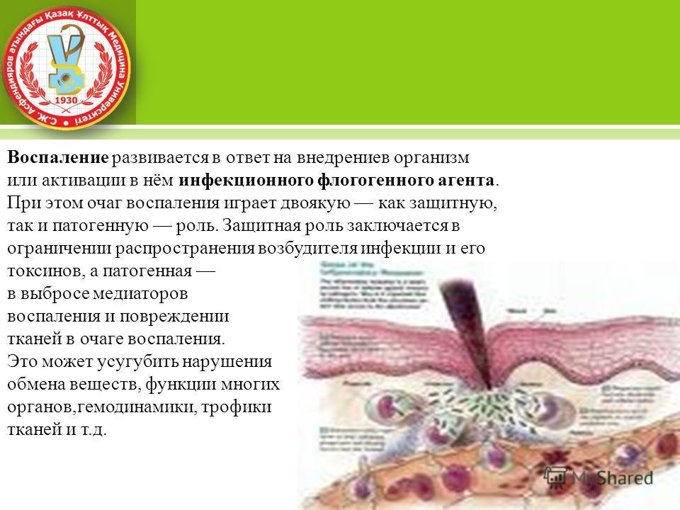 Воспаление развивается в ответ на внедрениев организм или активации в нём инфекционного флогогенного агента. При этом очаг воспаления играет двоякую как защитную, так и патогенную роль. Защитная роль заключается в ограничении распространения возбудит