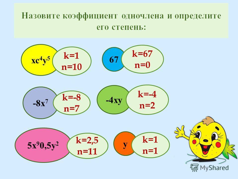 -8х 7 хс 4 у 5 67 -4ху 5х 9 0,5у 2 у k=-4 n=2 k=2,5 n=11 k=1 n=1 k=1 n=10 k=67 n=0 k=-8 n=7